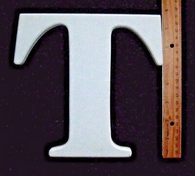 """White Wooden Alphabet Letter 'T' Wall Hanging - measures 7 5/8"""" x 8"""" x 5/8"""""""