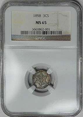 1858 NGC MS65 Three Cent Silver, REGISTRY QUALITY, original & much scarcer date
