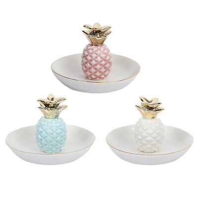 Jewelry Ring Organizer Holder Collect Ceramic Dish Ananas Display Tray Plate