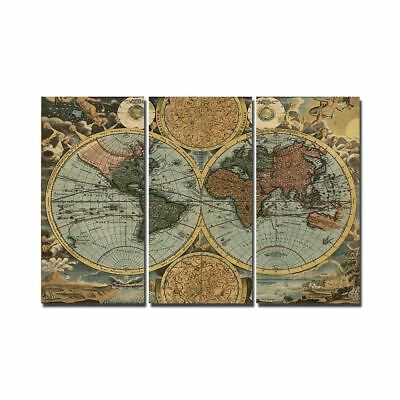 Vintage World Map room 3 panel wall art decor print poster picture canvas
