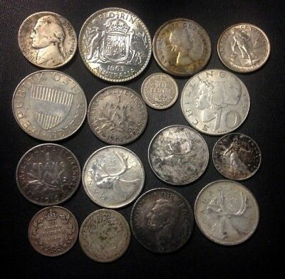 Vintage WORLD Silver Coin Lot - 1908-1966 - 15 Silver Coins - Lot #519