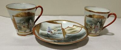 Antique Japanese Meiji period Satsuma cups and saucer Marked in the bottom