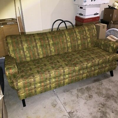 Vintage Apartment Sized Two Cushion Woven Green Orange Plaid Fabric Couch