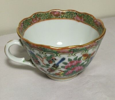 Antique 19th Century China Export hand painted Famille Rose cup
