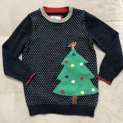 Mini Boden Boys Sweater Size 6-7 Blue With Christmas Tree