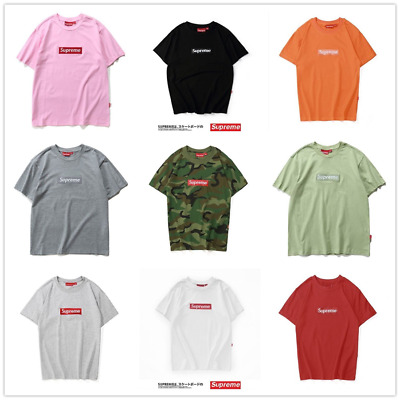 2018 Hot Top Fashion SUPREME BOX LOGO T-shirt classica in puro cotone 13 colori