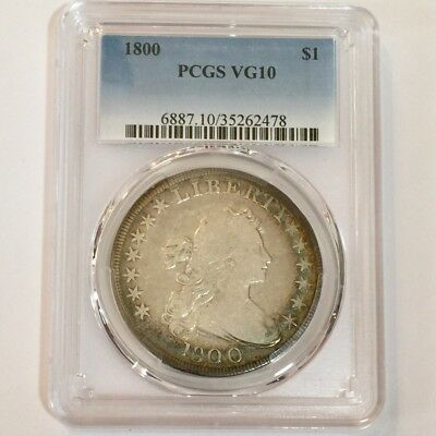 1800 Draped Bust Dollar Graded PCGS VG-10 Gorgeous Peripheral Toning FREE S/H!!