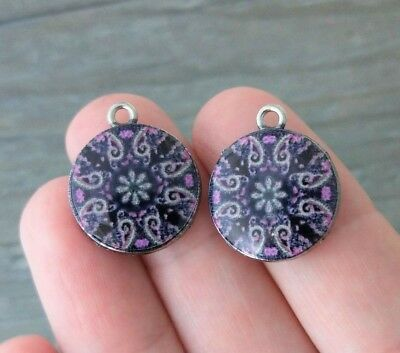 Patterned Glass Charms 2pc - Silver Plate Purple and Black - Mandala Charm CH119