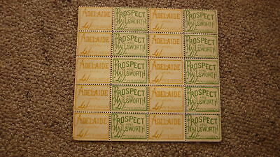 BLOCK OF 20 EARLY 1900s PN&E TRAM Co ADELAIDE RAILWAY TICKETS