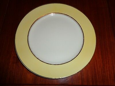 Palissy Art Deco Style Small Dinner Plate Yellow White Gold Trim Circa 1940's #2