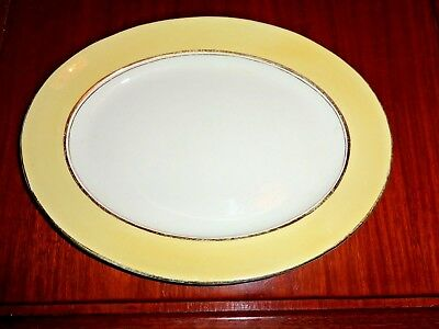 Palissy Art Deco Style Small Serving Platter Yellow White Gold Trim