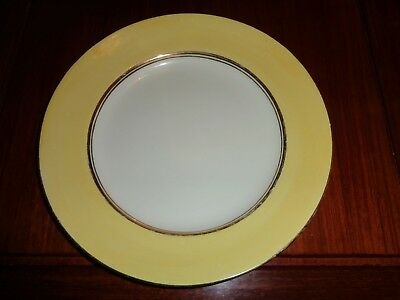Palissy Art Deco Style Small Dinner Plate Yellow White Gold Trim Circa 1940's