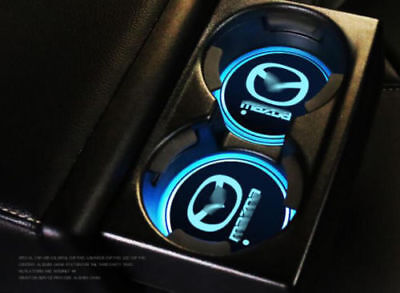 2Pcs for MAZDA LED Mat Auto Atmosphere Lights Car Cup Bottle Colorful Holder Pad