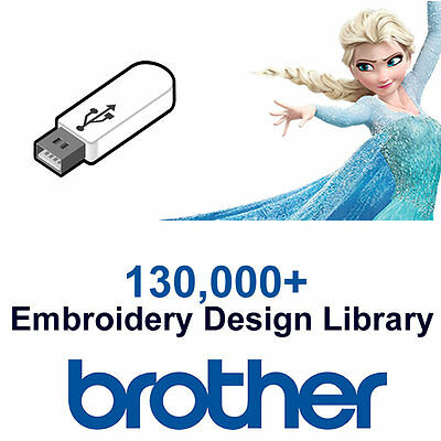 130,000+ BROTHER Embroidery Designs Library (PES Format) Cards 16GB USB Drive