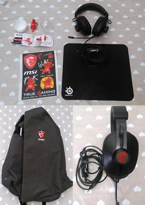 Sac MSI+Casque Headset S +Stickers+figurine NEUF + Tapis souris SteelSeries QcK
