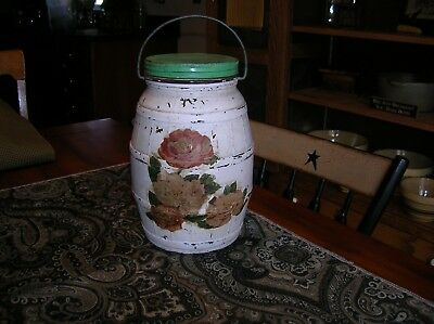 Country Store Barrel Pickle Jar Gallon Bale Handle Lid Owens Illinois Glass