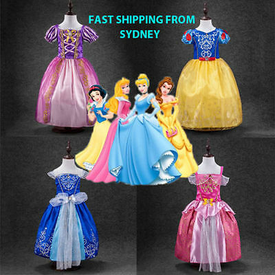 Kids Girls Princess Costume Fairytale Dress Up Belle Cinderella Aurora Rapunzel+
