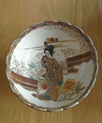 Vintage Oriental Giesha Moriage/satsuma Hand Painted Bowl With Gold Gilding