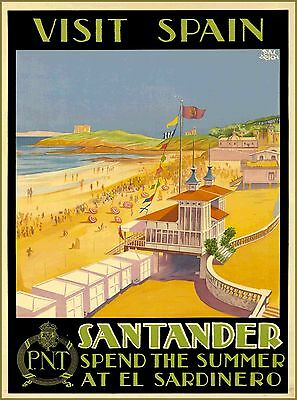 Visit Spain Santander La Magdalena Vintage Travel Advertisement Art Poster Print