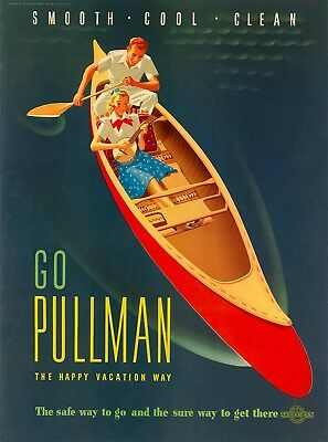 Go Pullman Happy Vacation Way Vintage United States Travel Advertisement Poster