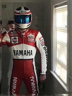 Marlboro Spencer Yamaha Motorcycle Racing Leather Suit With Ce Armour