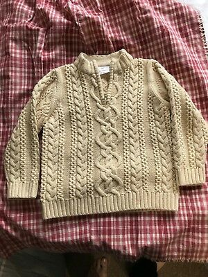 Hanna Andersson Boys unisex 100 Sweater 1/4 Zip Cable Knit Cream,cotton/wool