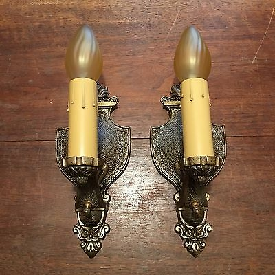 Wired Pair Antique Brass Wall Sconce Fixtures W/ Wired On Off Switches 3B