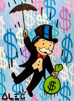 Alec-Monopoly Hand-Painted Oil Painting art graffiti canvas MONOPOLY UMBRELL 36