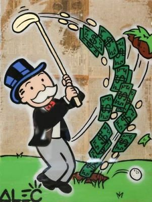Alec-Monopoly Hand-Painted Oil Painting art graffiti canvas Monops Money Golf