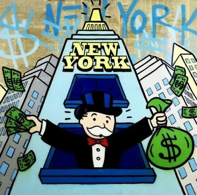 Alec-Monopoly Hand-Painted Oil Painting art graffiti canvas New York 28×28