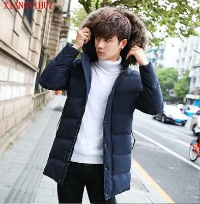 Men's Fur Padded Jacket Thick Cotton Winter Hooded Collar Long Coat Parka Warm
