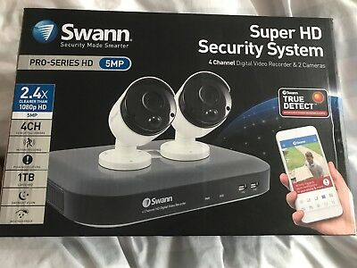 Swann CCTV System 4-Channel 5MP 1TB HDD DVR with 2x PRO Bullet HD Cameras