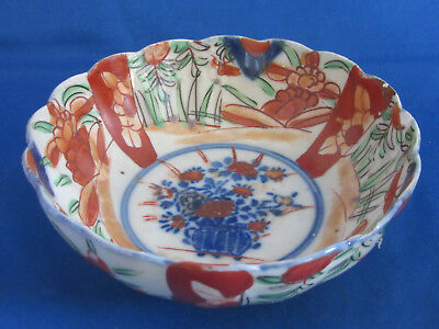 Antique Chinese flow bowl imari type hand painted bowl 6""