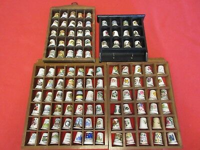 Job Lot of 109 Various China Thimbles + Display Units