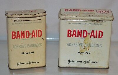 Two Vintage BAND-AID empty metal Containers