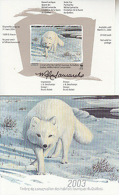 Canada MNH Quebec Conservation 2003 WWF  QW16A IMPERF SIGNED  Value $ 105.00