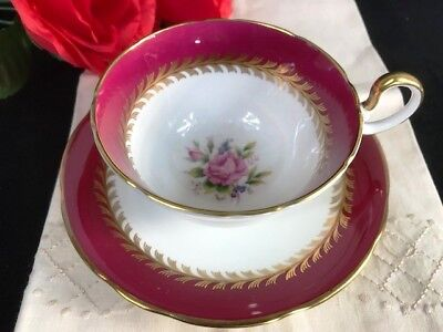 1930s Aynsley Maroon Pink Cabbage Rose Spray D-shape handle Cup and Saucer