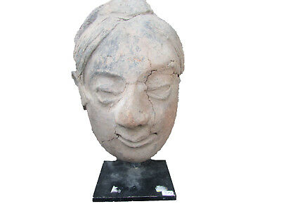 Circa 200Bc-200Ad Ancient Gandhara - Huge Terracotta Buddha Head - Mounted - Rar