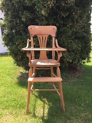 Vintage Antique Jenny Lind Style All Wood High Chair  Maple Color