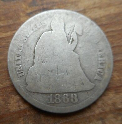 1868 Seated Liberty Dime- Better Date, Low Mintage  ** Take A Look!! **