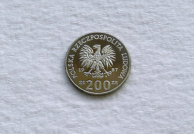 1987 Poland 200 Zloty Cu-Ni Coin *Europe Soccer*     *Proof*