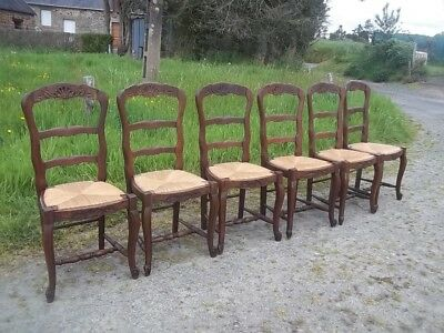 quality french antique set of 6 oak carved farmhouse chairs