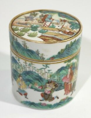 Beautifully Painted Antique Chinese Porcelain Jar & Cover Warriors in Landscape