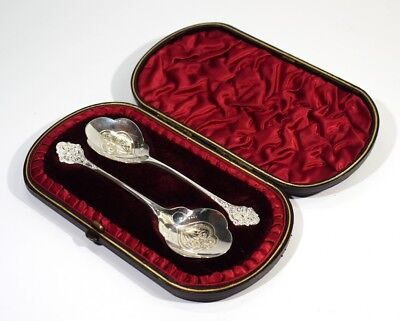 Beautiful Pair of Victorian Antique Preserve Spoons in Fitted Velvet Lined Case.