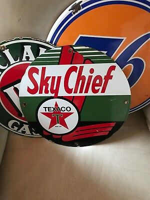 Vintage Texaco Sky Chief Gasoline porcelain pump sign garage can Texas Co. 39 US