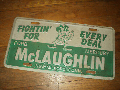 VINTAGE FIGHTING IRISH NEW MILFORD CONNECTICUT DEALERSHIP PLATE FORD McLAUGHLIN