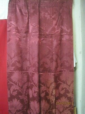 Vintage 1940's rayon/cotton/satin burgundy red Curtain panel