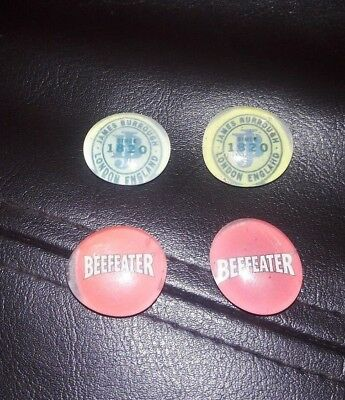 """Beefeater Gin James Burrough London Refrigerator Bar Magnets LOT OF 4 Clear 1"""""""