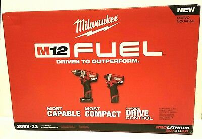 NEW Milwaukee M12 Gen2 FUEL Hammer Drill and Impact Driver Combo Kit 2598-22