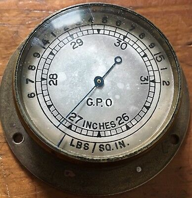 Antique Brass GPO Barometer No 2a RAE 60/1 Lbs Sq Ins Post Office Scientific